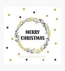 Merry Christmas and Happy New Year in wreath Photographic Print