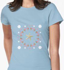 Flamingo Circle Starfish Sand Dollars Design Women's Fitted T-Shirt