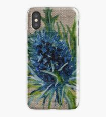 Blue Thistle Oil Painting by Angela Brown Art iPhone Case/Skin