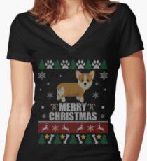 ugly christmas sweater corgi dog womens fitted v neck t shirt