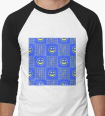 Yellow Smile Seamless Pattern on Blue Background T-Shirt