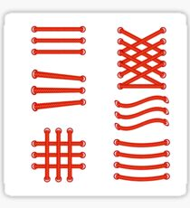 Set of red shoelace isolated on white background Sticker