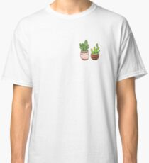 Cute cartoon cactus with funny kawaii faces in pots. Watercolor illustration. Classic T-Shirt
