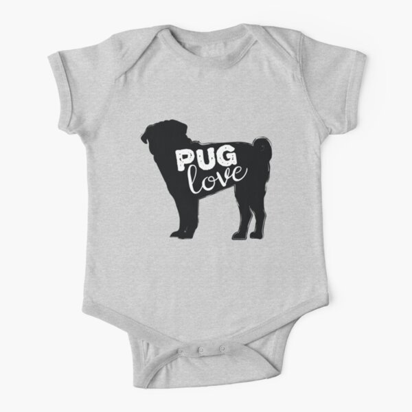 Pug Love Dog Lovers Design Short Sleeve Baby One-Piece