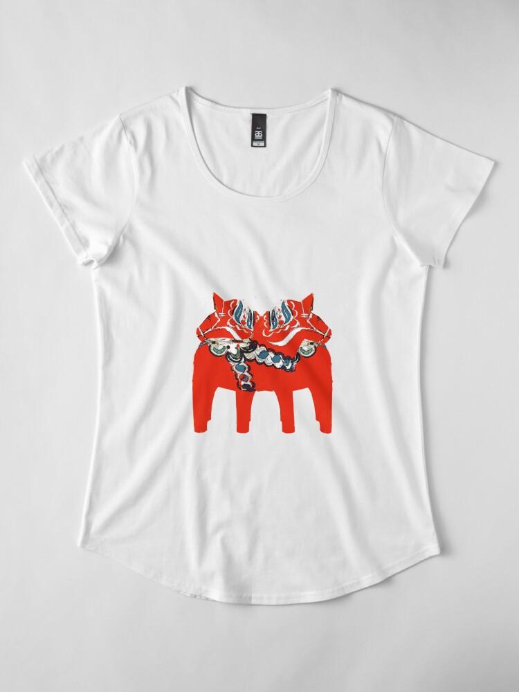Alternative Ansicht von Schwedische Dala Pferdegeschenke und -kleid Premium Rundhals-Shirt