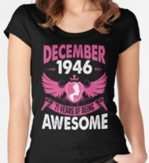 Queens Are Born In December 1946 71 years of being awesome Women's Fitted Scoop T-Shirt