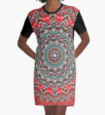 Mandala Christmas Pug Graphic T-Shirt Dress
