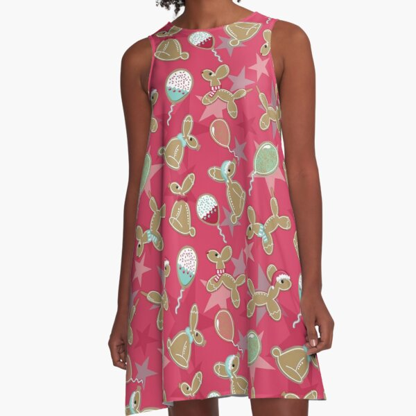 Balloon Animal Holiday Cookies in Pink A-Line Dress
