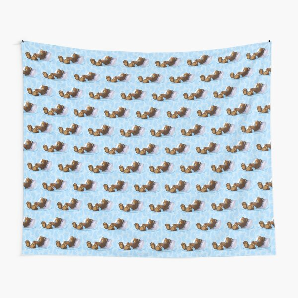 Sleeping Ted Blue - Tiled Tapestry