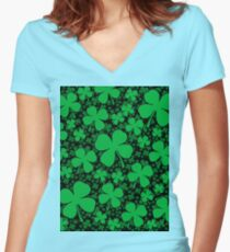 A Shamrock Field for St Patrick's Day Women's Fitted V-Neck T-Shirt