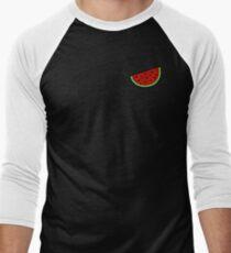 Tropical mosaic watermelon design on black background T-Shirt