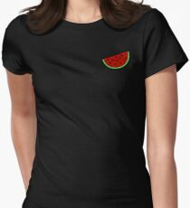 Tropical mosaic watermelon design on black background Women's Fitted T-Shirt