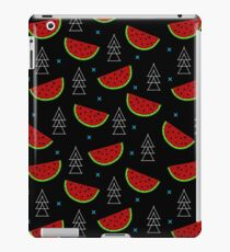 Tropical mosaic watermelon design on black background iPad Case/Skin