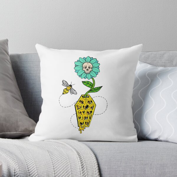 Honeycomb Coffin - colored version Throw Pillow