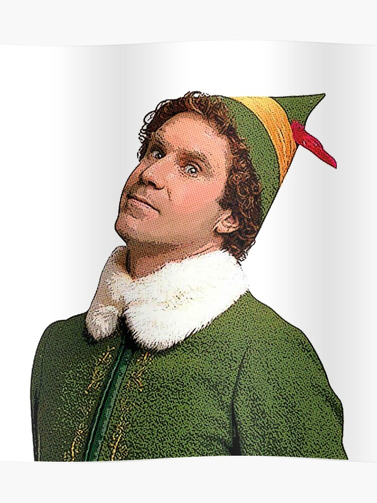 Buddy The Elf Side Eye Funny Christmas Movie Will Ferrell Poster