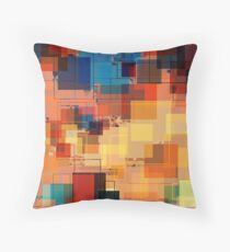 Multi color Gold Blue Red Overlay Geometerical Pattern Throw Pillow