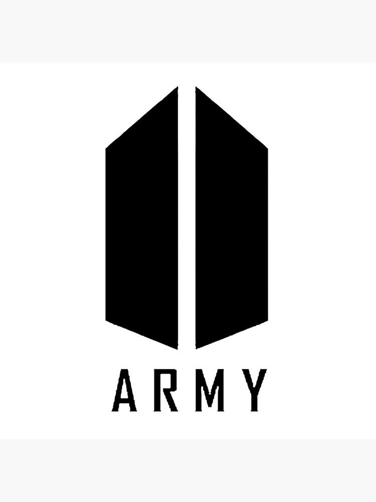 bts army logo black art board print by kissa aura redbubble redbubble