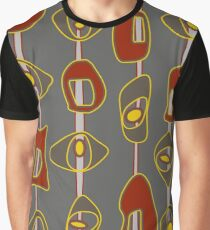 Mid Century Modern Blobs red and gray Graphic T-Shirt