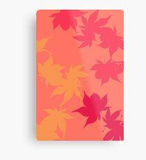 Pink Autumn Maple leaves Metal Print