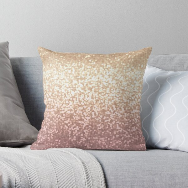 Champagne and Blush Glitter Ombre Throw Pillow