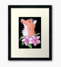 Flower Fox Watercolor Framed Print