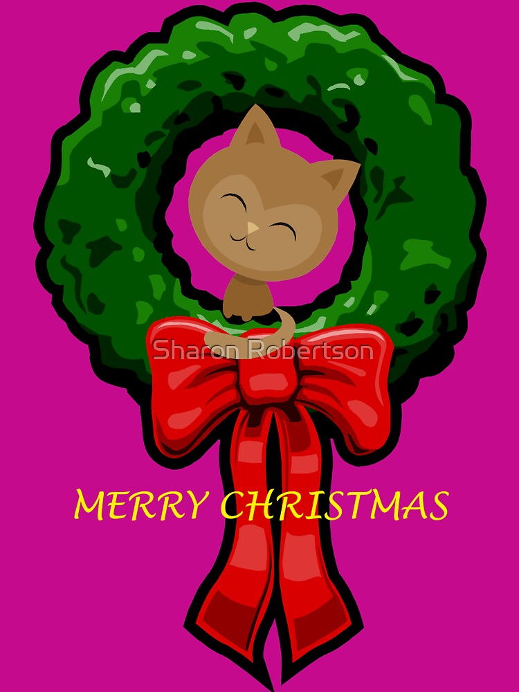 MERRY CHRISTMAS CAT by Sharon Robertson