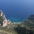 View of Capri Italy beach from the mountains by Ilan Cohen