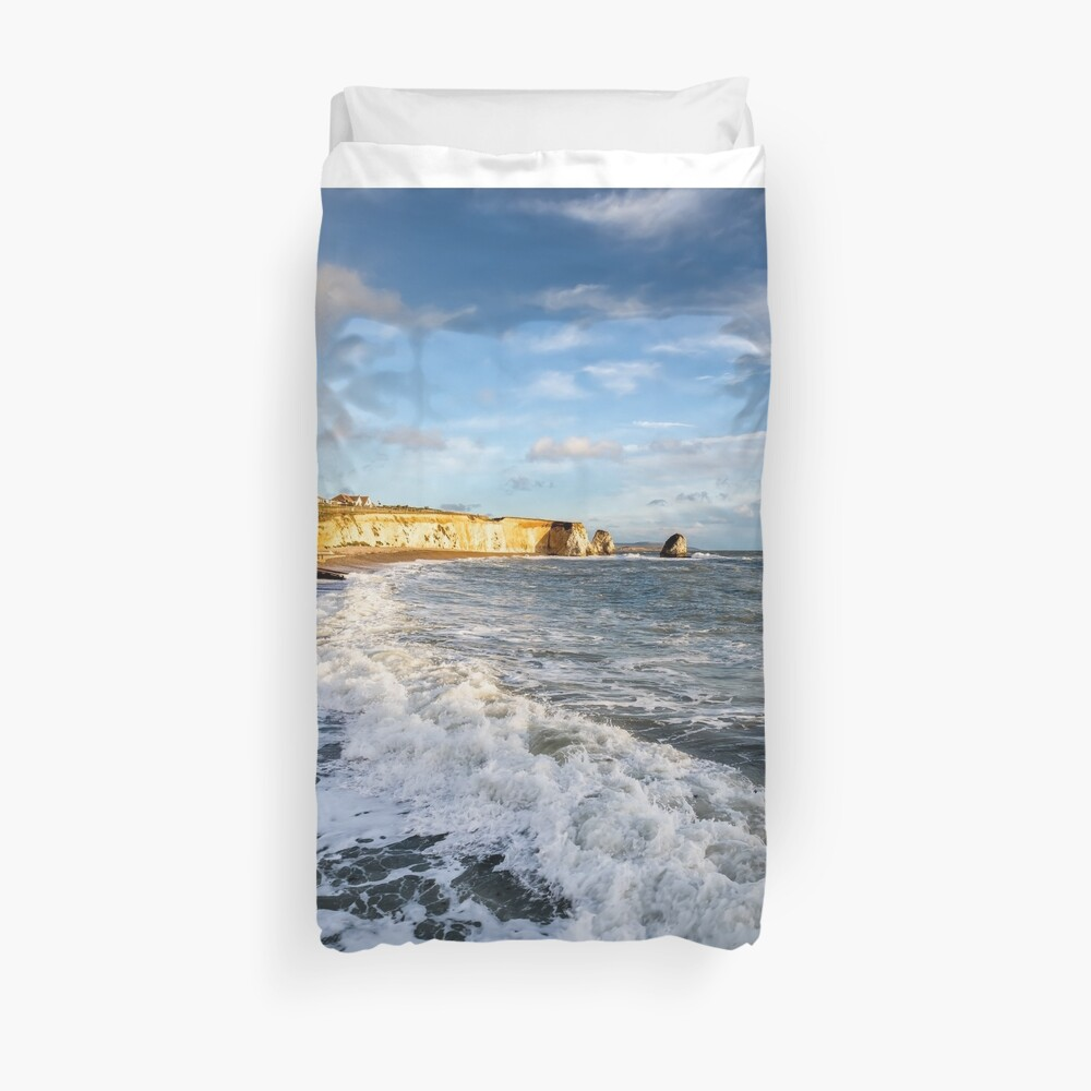 Freshwater Bay Beach Isle Of Wight Duvet Cover