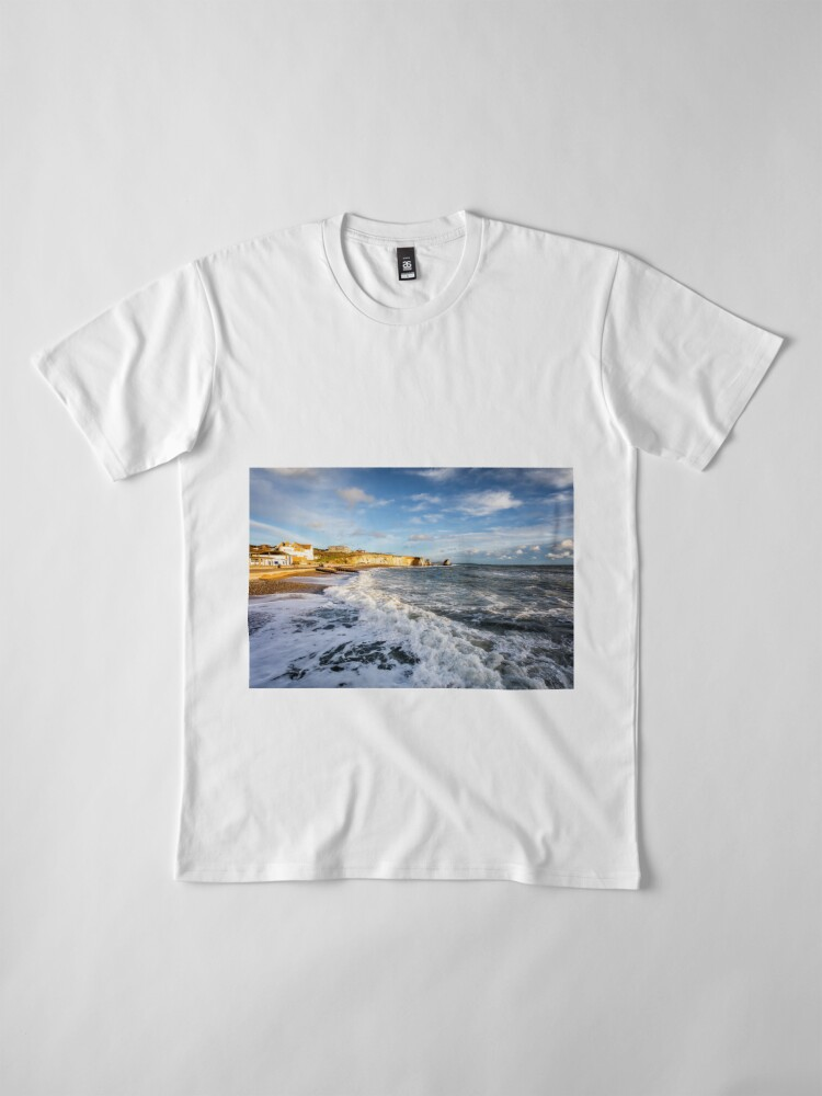 Alternate view of Freshwater Bay Beach Isle Of Wight Premium T-Shirt