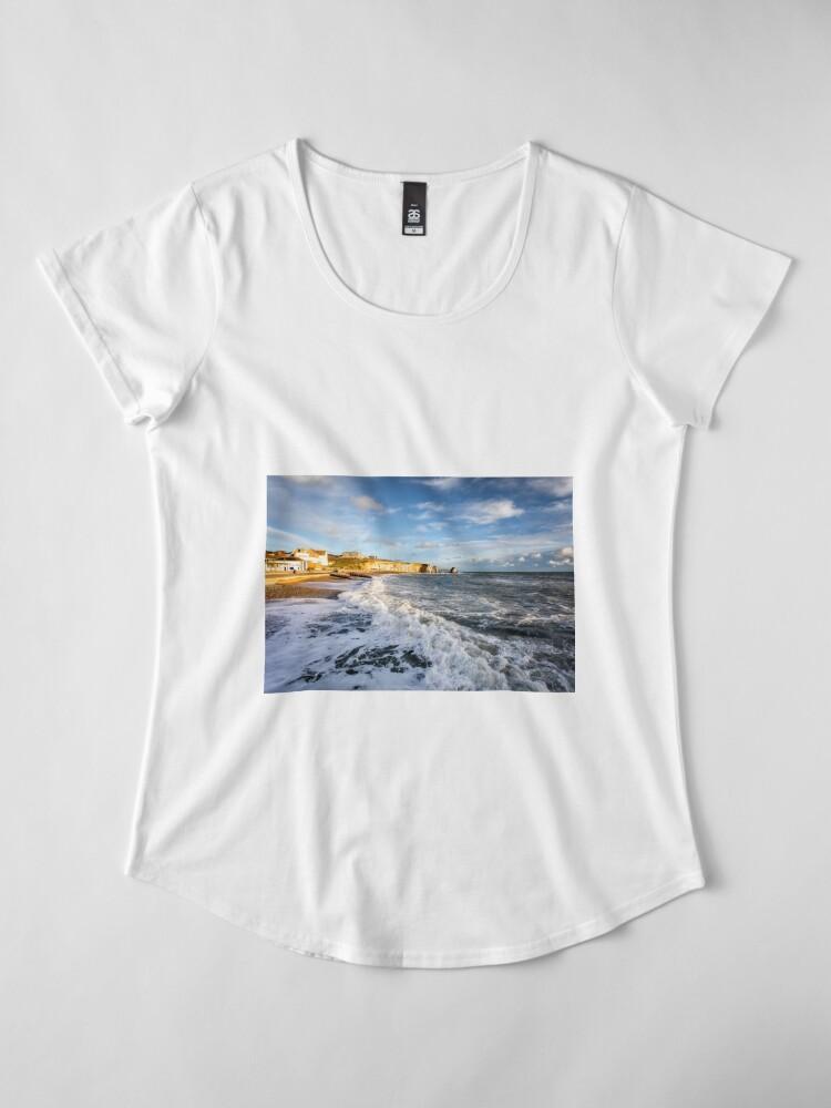 Alternate view of Freshwater Bay Beach Isle Of Wight Premium Scoop T-Shirt