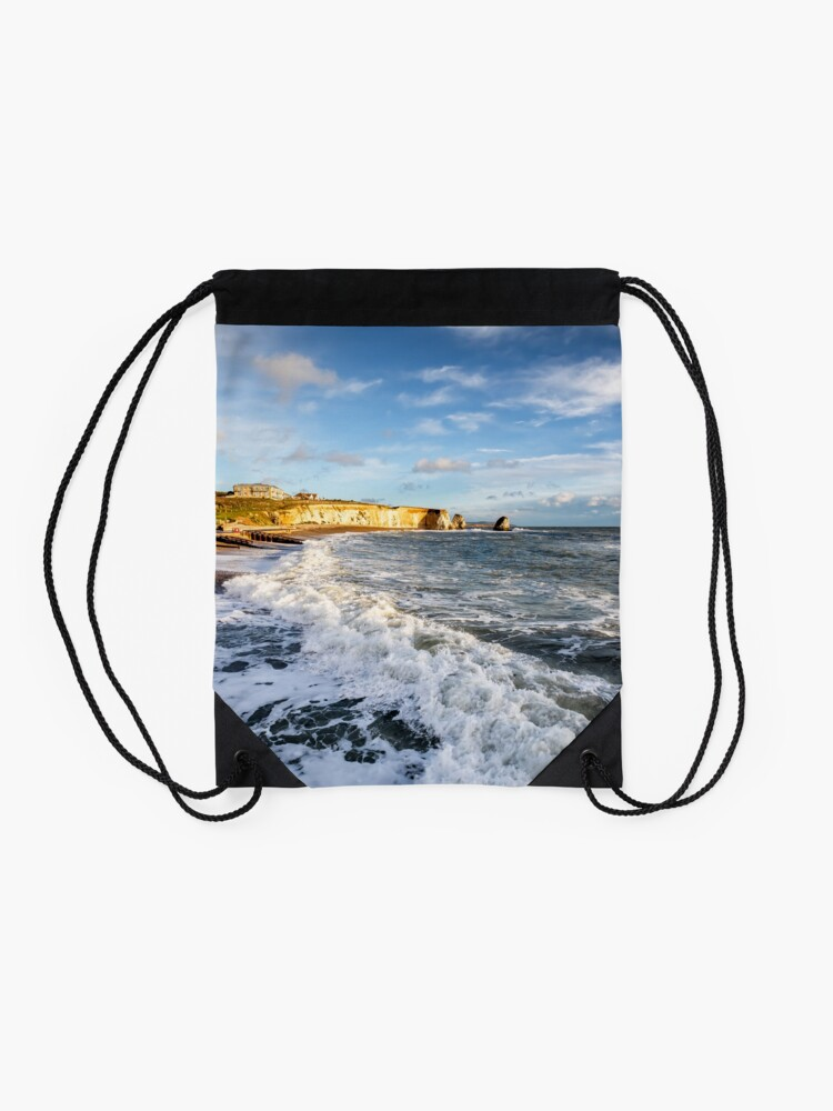 Alternate view of Freshwater Bay Beach Isle Of Wight Drawstring Bag