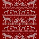 Ugly Christmas sweater dog edition - Rottweiler red by Camilla Mikaela Häggblom
