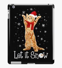 Let It Snow Santa Hat & Scarf Kitten Cat Snowflake Holiday Funny iPad Case/Skin