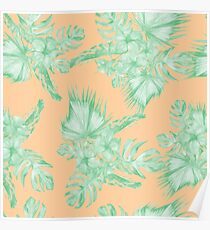 Sea Foam Green and Coral Orange Hawaiian Monstera Deliciosa Botanical Floral Pattern Poster