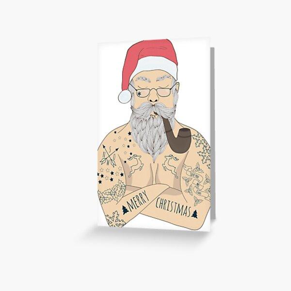 Tattooed Santa Claus Greeting Card