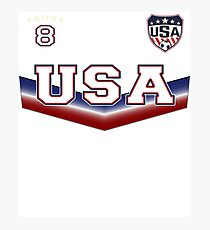 USA Soccer T shirt with Number 8 Photographic Print