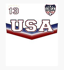 USA Soccer T shirt with Number 13 Photographic Print