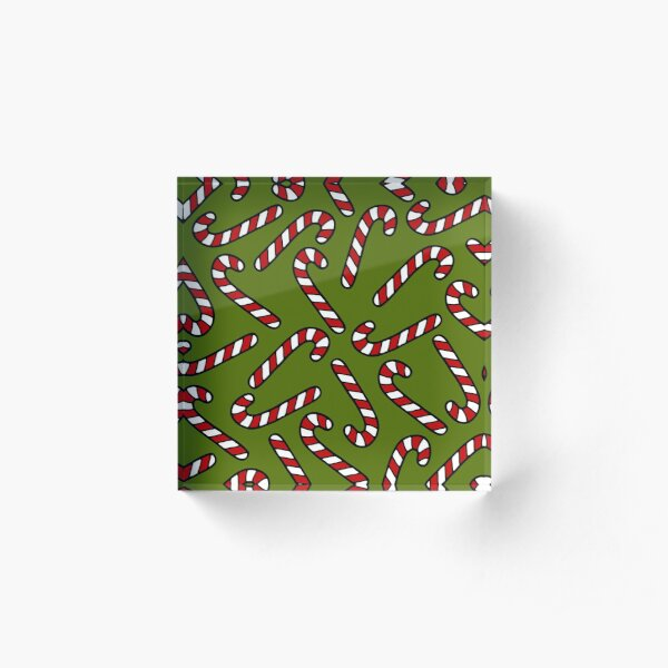 Candy Cane Pattern Acrylic Block