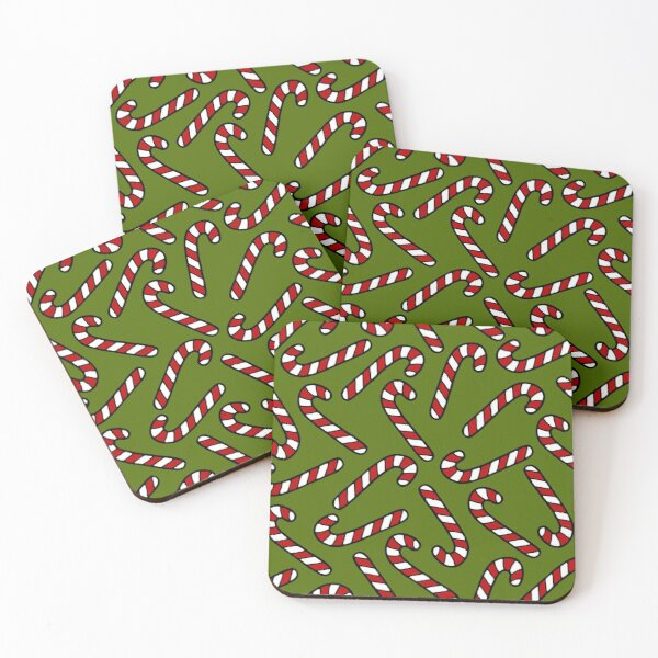 Candy Cane Pattern Coasters (Set of 4)