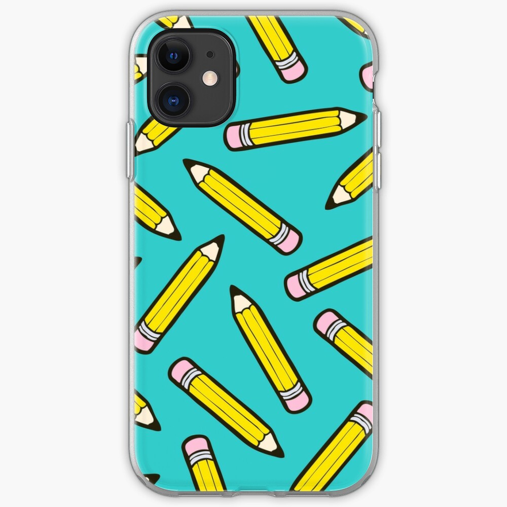 Pencil Power Blue Pattern iPhone Soft Case