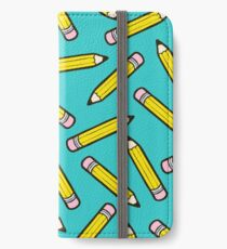 Pencil Power Blue Pattern iPhone Wallet/Case/Skin