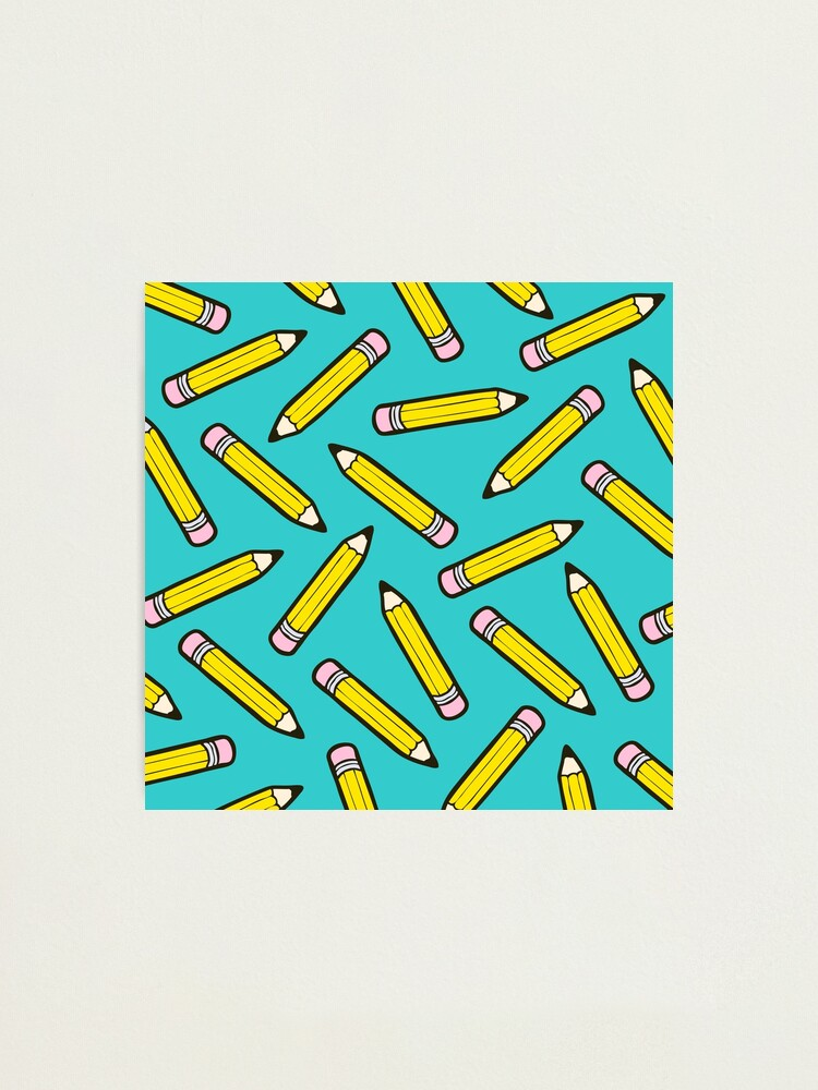 Alternate view of Pencil Power Blue Pattern Photographic Print