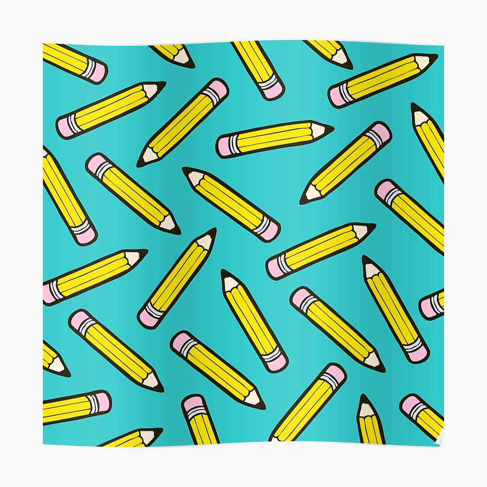 Pencil Power Blue Pattern Poster