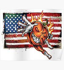 Foodietoon /  Halloween Havoc / Pumpkin / Flag USA Poster