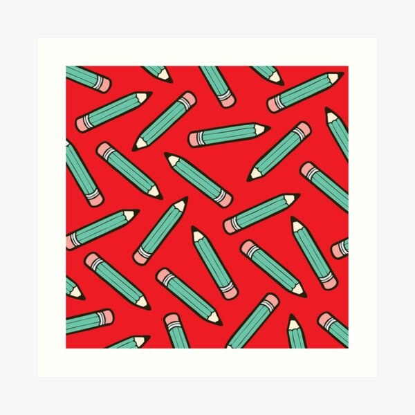 Pencil Power Red Pattern Art Print