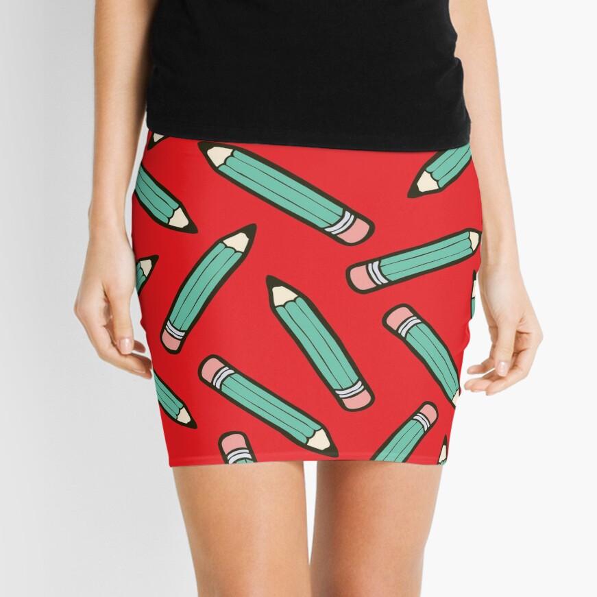 Pencil Power Red Pattern Mini Skirt