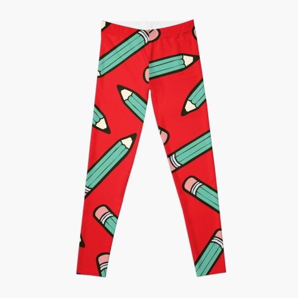 Pencil Power Red Pattern Leggings