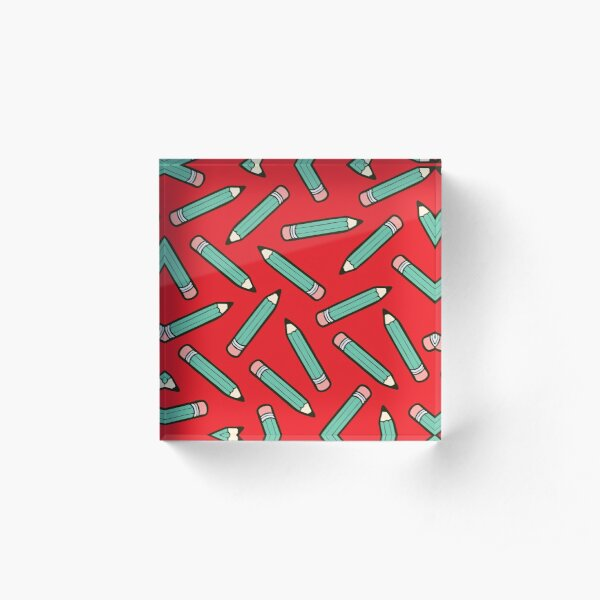 Pencil Power Red Pattern Acrylic Block