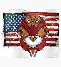 Foodietoon Superhero Donut / USA Flag Poster