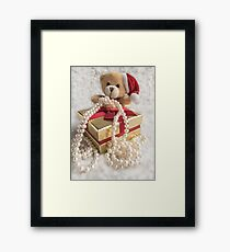 Little Teddy with a gift Framed Print